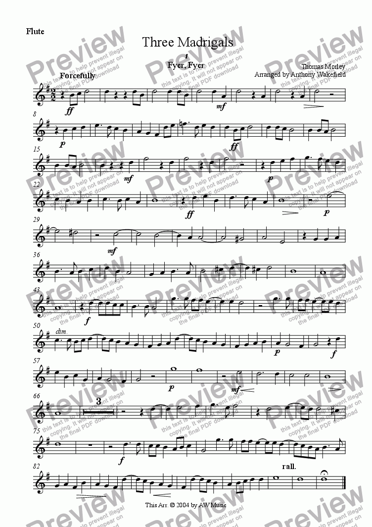 page one of the Flute part from Three Madrigals for Wind Quintet