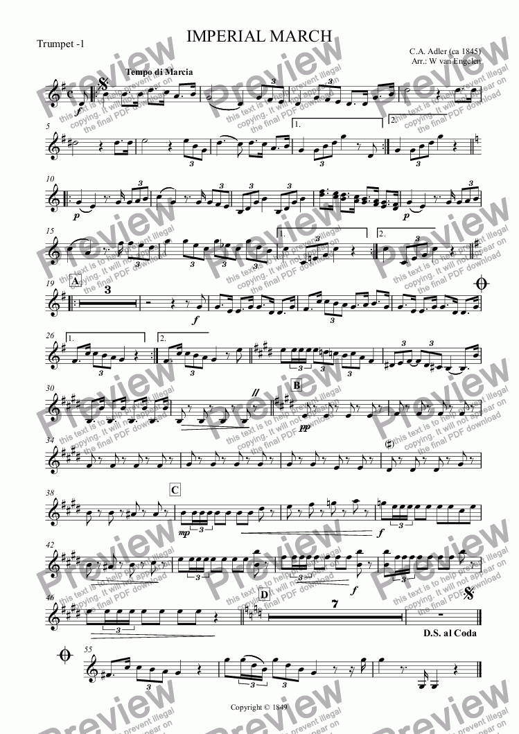 page one of the Trumpet -1 part from IMPERIAL MARCH