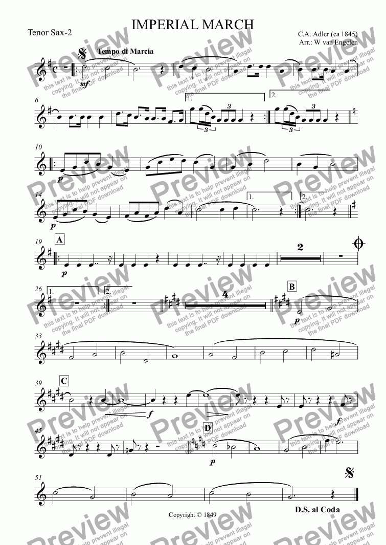 page one of the Tenor Sax-2 part from IMPERIAL MARCH