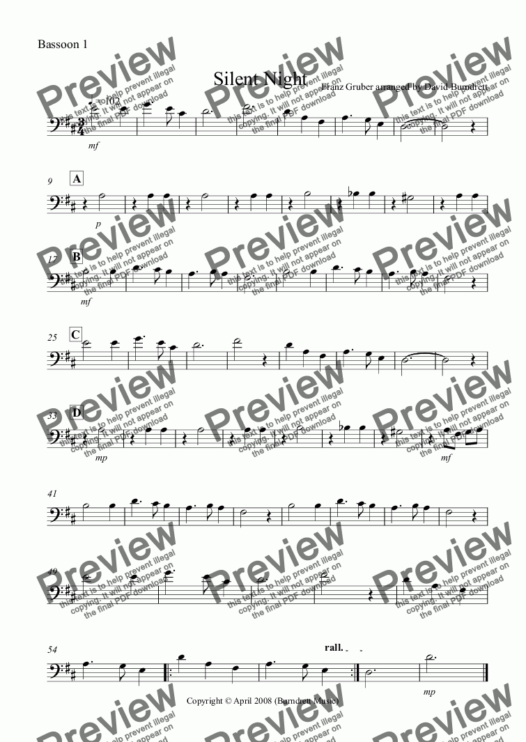 page one of the Bassoon 1 part from Silent Night for Bassoon Quartet