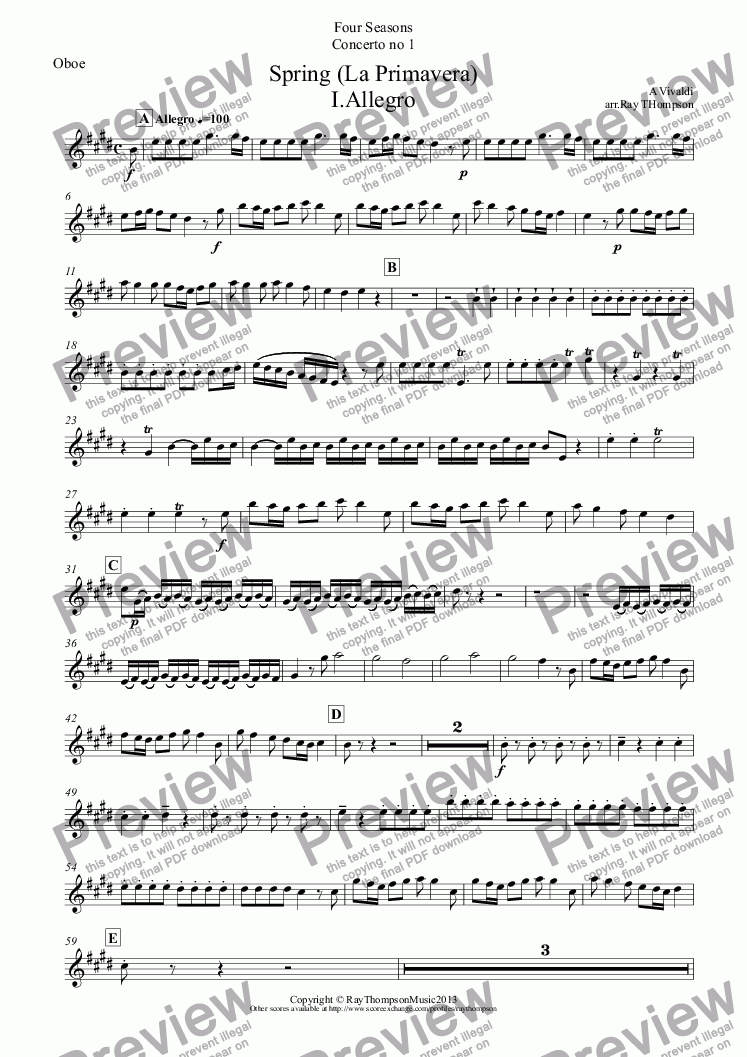 "page one of the Oboe part from Four Seasons:Spring(La Primavera)(Complete:Mvt I ""Arrival of Spring"" Mvt II ""The Goatherd sleeps"" Mvt III ""Nymphs and Shepherds Dance"")(Wind Quintet)"