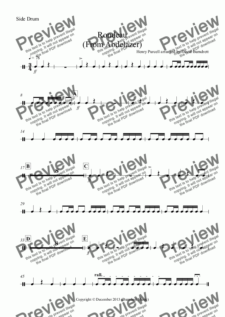 page one of the Side Drum part from Rondeau (from Abdelazer) for School Orchestra