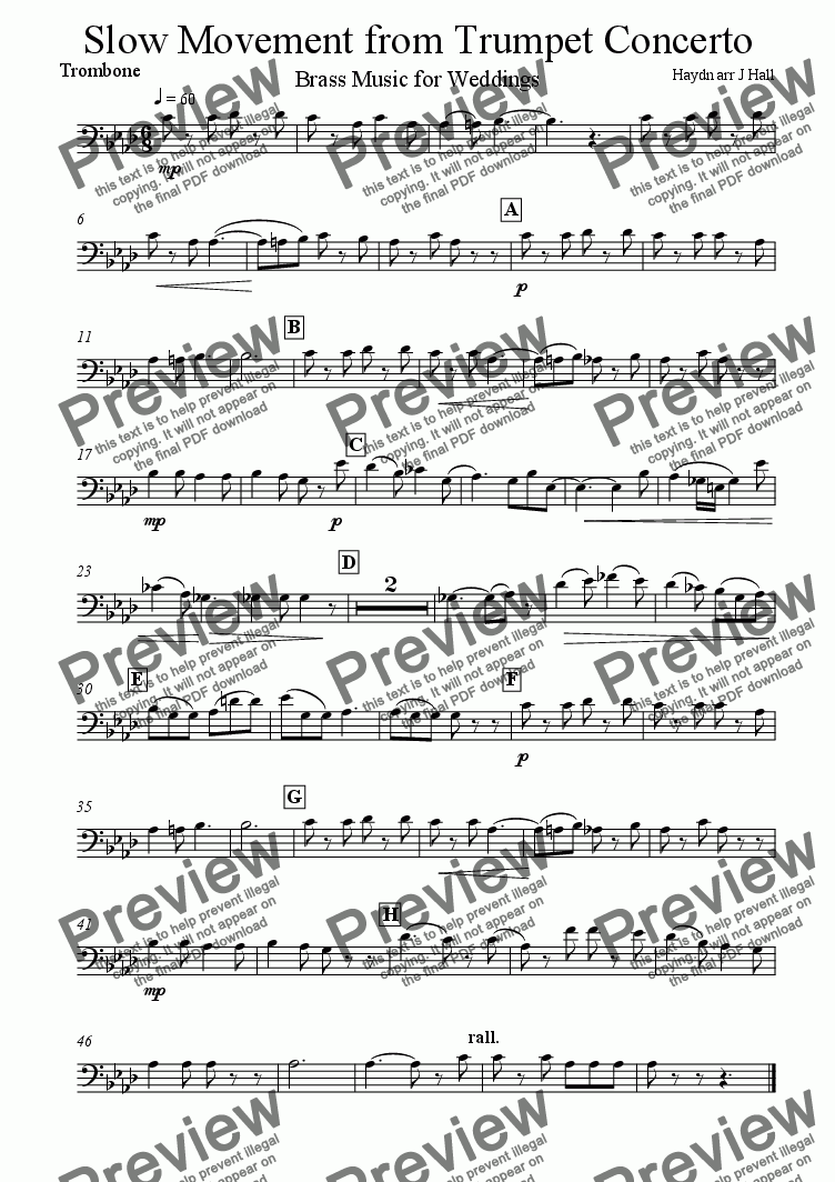 page one of the Trombone part from Andante from Trumpet Concerto - Brass Music for Weddings