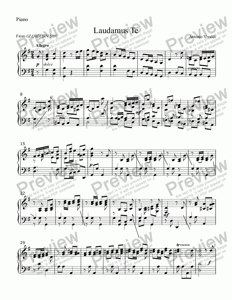 "page one of the Piano part from Laudamus Te (VIVALDI) (from ""Gloria"") vocal duet for two treble (Soprano) voices with Piano accompaniment, arr. by Pamela Webb Tubbs"