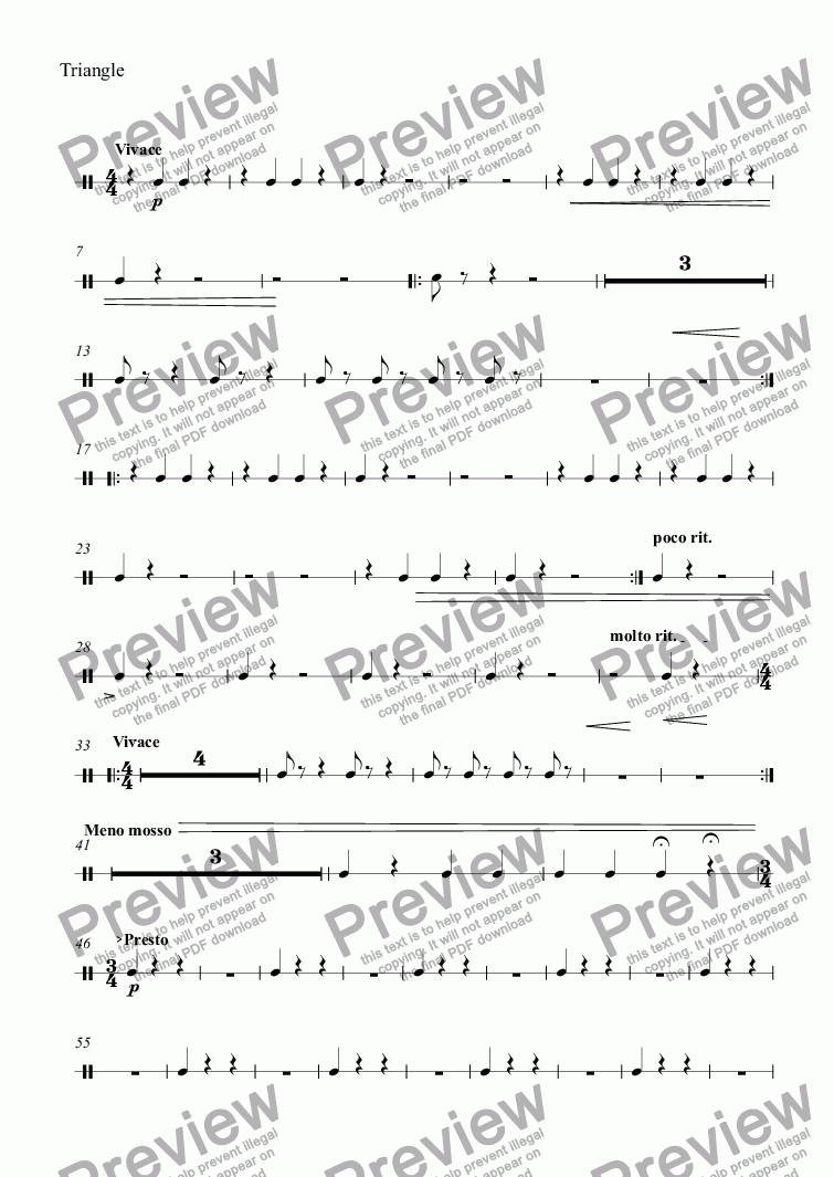 page one of the Triangle part from Overture for Band in C Minor