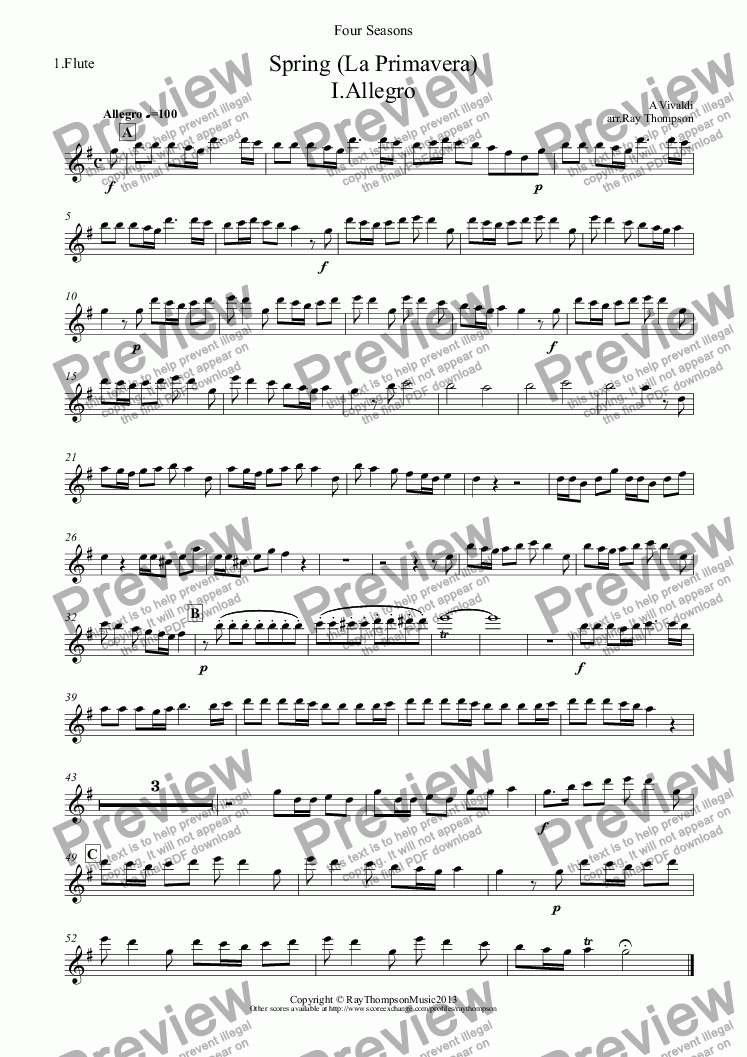 "page one of the 1.Flute part from Four Seasons: A Suite of 4 Movements (easier and abridged):Spring Mvt.I ('Arrival of Spring""), Winter Mvt.II (""Peaceful Days in front of the Fire""), Autumn Mvt.I (""Peasant's Dance"" & Mvt.III ('The Hunt"")(Flute Quintet:3 fl,1 alto,1 bass)"