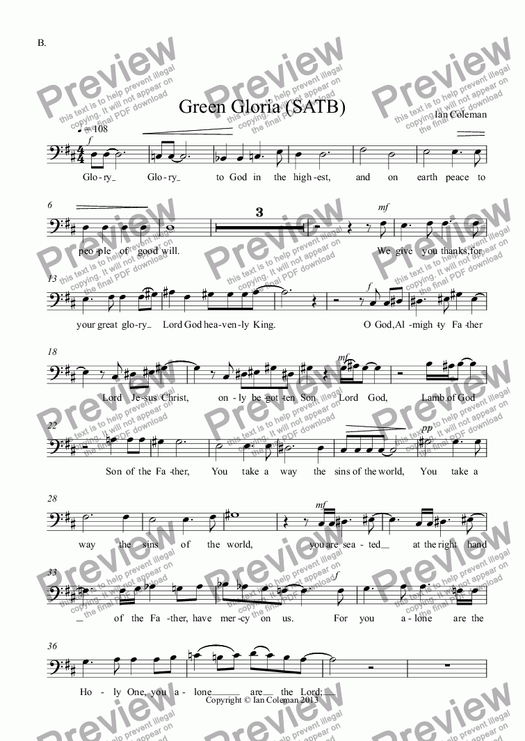 page one of the B. part from Green Gloria (SATB)