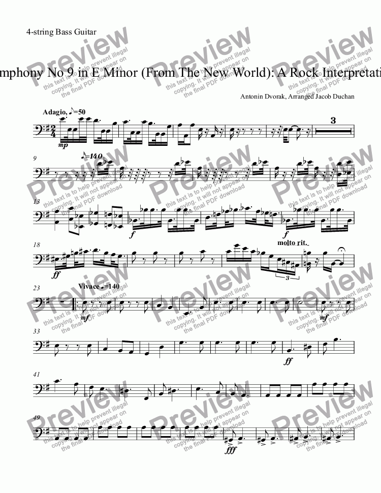 page one of the 4-string Bass Guitar part from New World Rock: Adagio-Allegro Molto