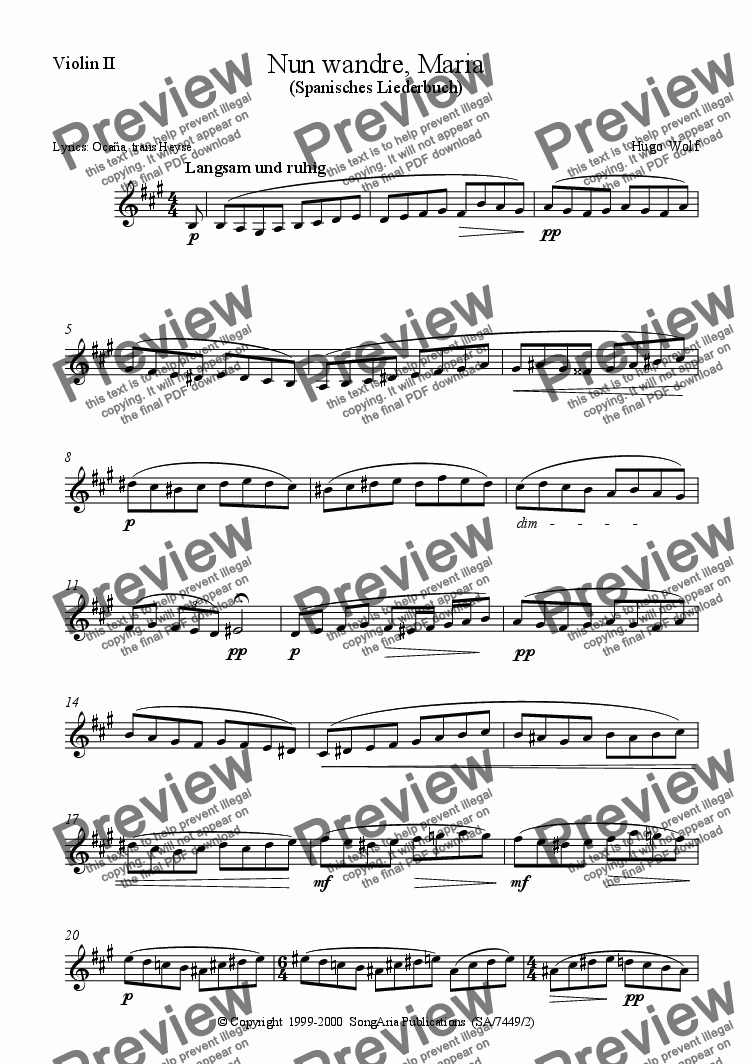 page one of the Violin II part from Nun wandre, Maria