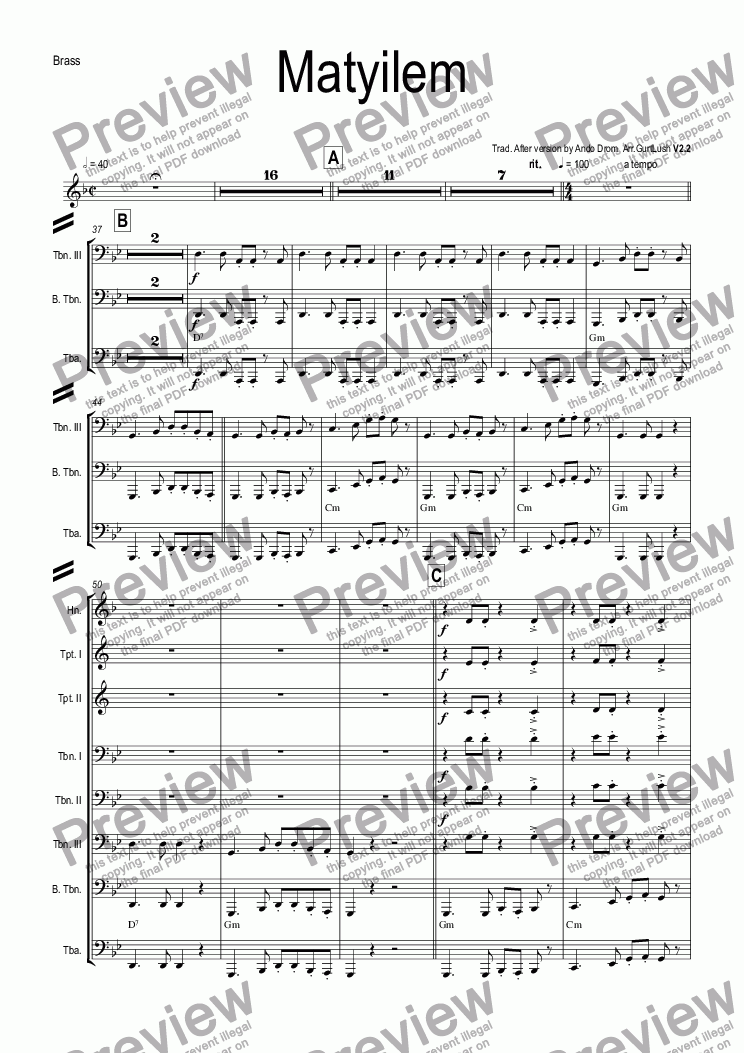 page one of the Full Brass Score part from Matyilem