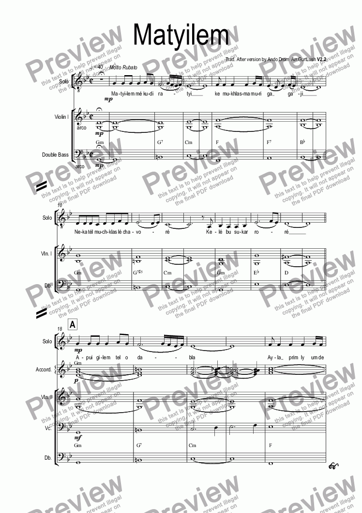 page one of the Organ part from Matyilem
