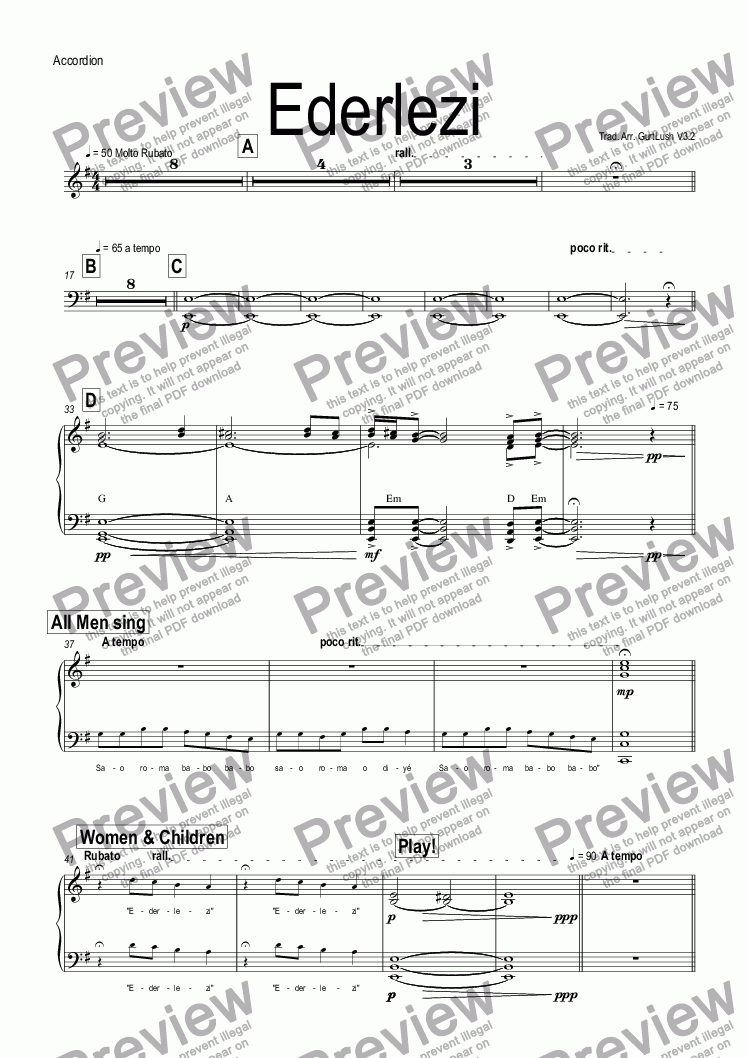 Accordion part from ederlezi download sheet music pdf file which method of viewing music should i use hexwebz Choice Image