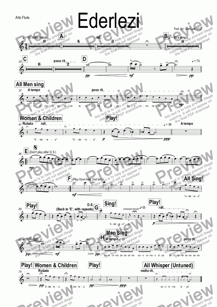 page one of the Alto Flute part from Ederlezi