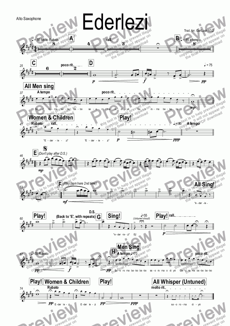 page one of the Alto Saxophone part from Ederlezi