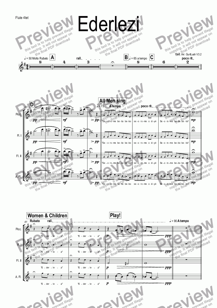 page one of the Flute 4tet part from Ederlezi
