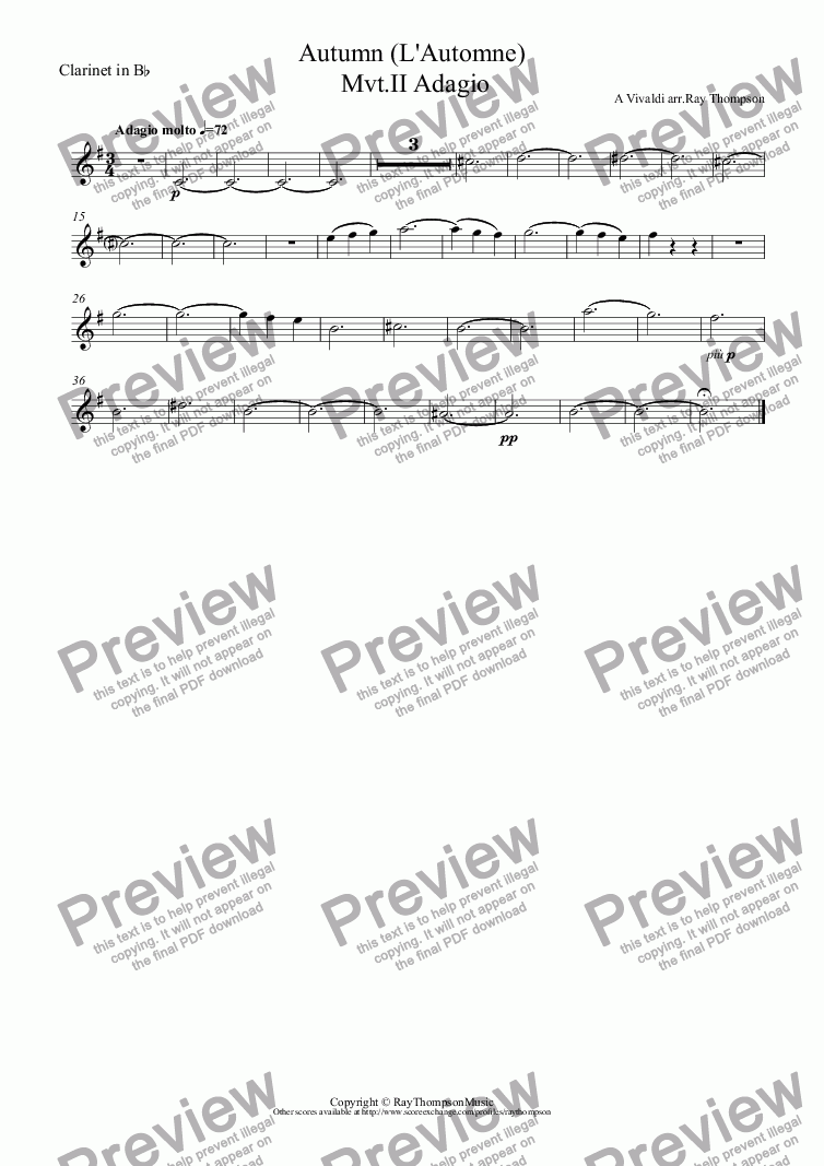 page one of the Clarinet in B^b part from Four Seasons:Autumn (L'Automno) Mvt.II Adagio (wind quintet)