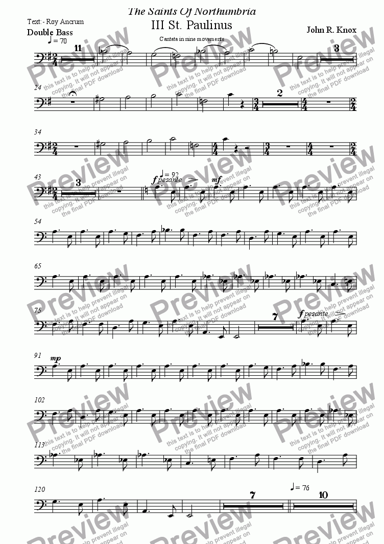 page one of the Double Bass part from The Saints Of  Northumbria (III St. Paulinus)