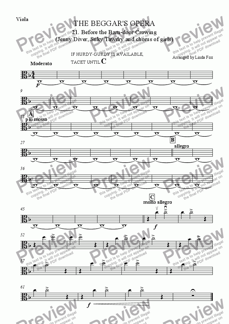 page one of the Viola part from The Beggar's Opera: 21. Before the Barn-door Crowing