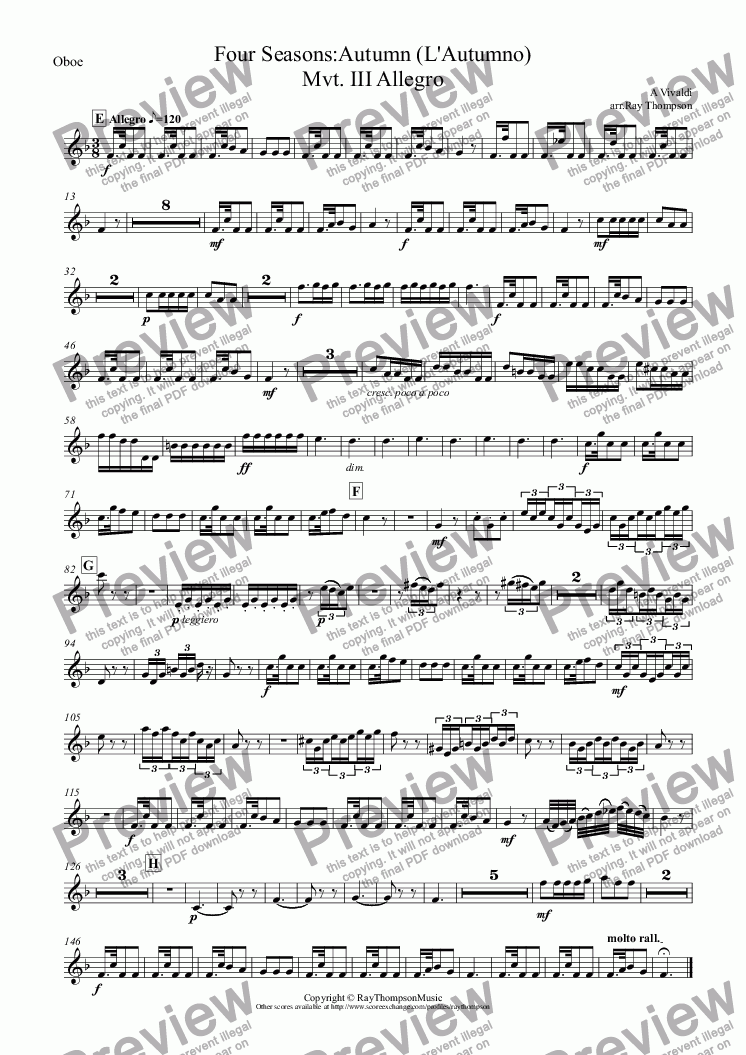 "page one of the Oboe part from Four Seasons:Autumn (L'Autumno) Mvt.III Allegro (""The Hunt"")"