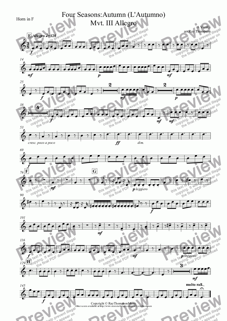 "page one of the Horn in F part from Four Seasons:Autumn (L'Autumno) Mvt.III Allegro (""The Hunt"")"