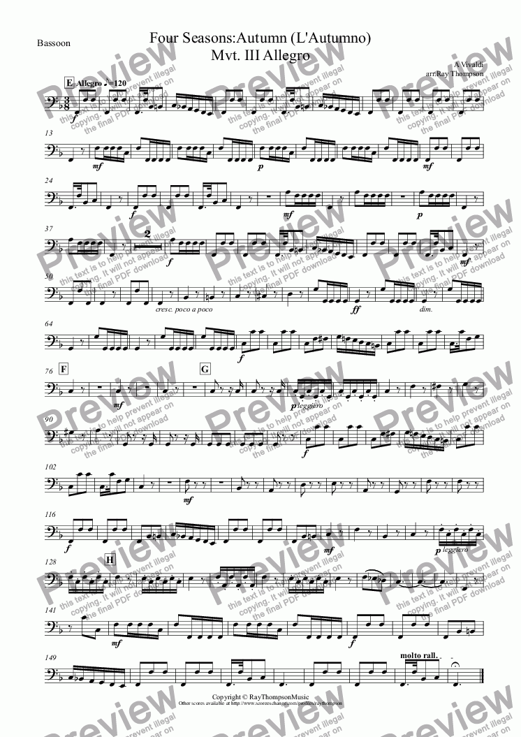 "page one of the Bassoon part from Four Seasons:Autumn (L'Autumno) Mvt.III Allegro (""The Hunt"")"