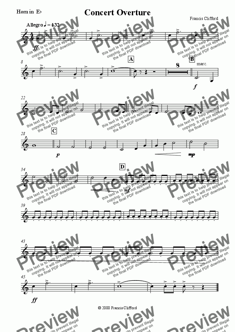 page one of the Horn in Eb part from Concert Overture (10 Piece Brass)
