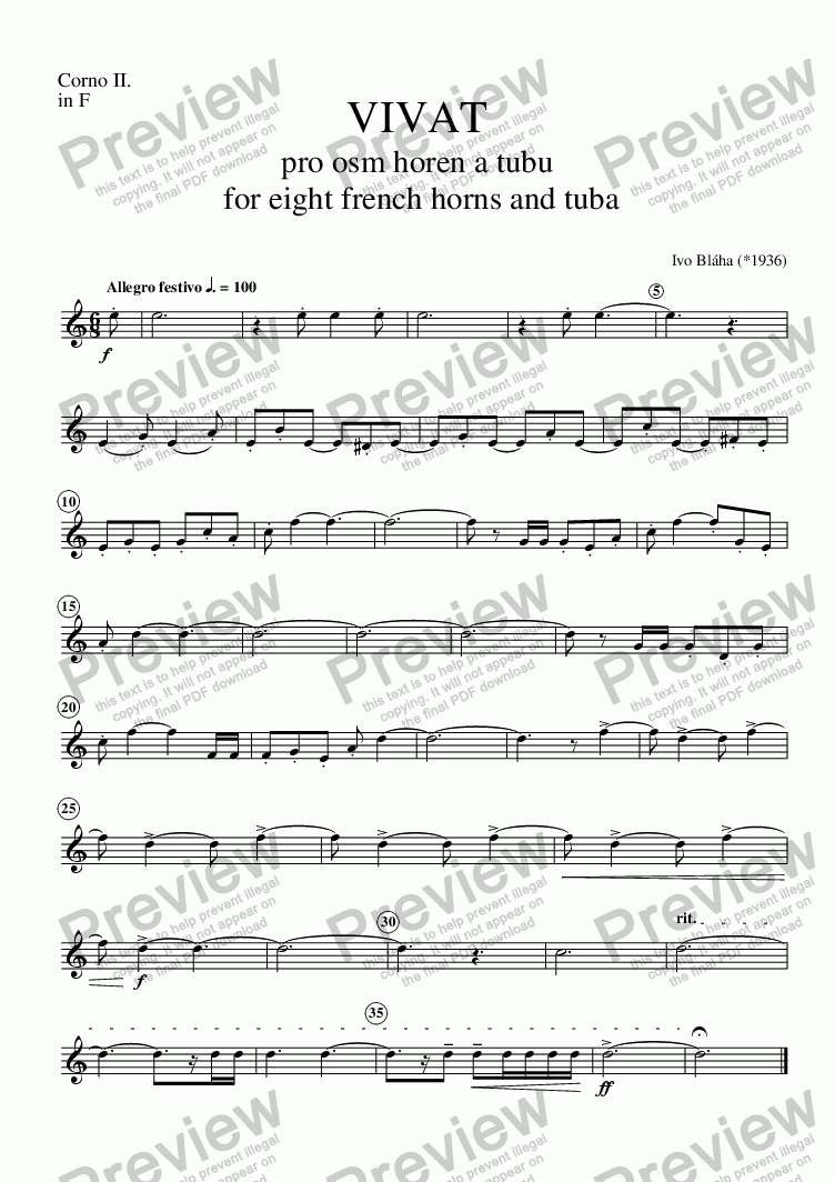 page one of the Corno 2 part from VIVAT for 8 French horns and tuba