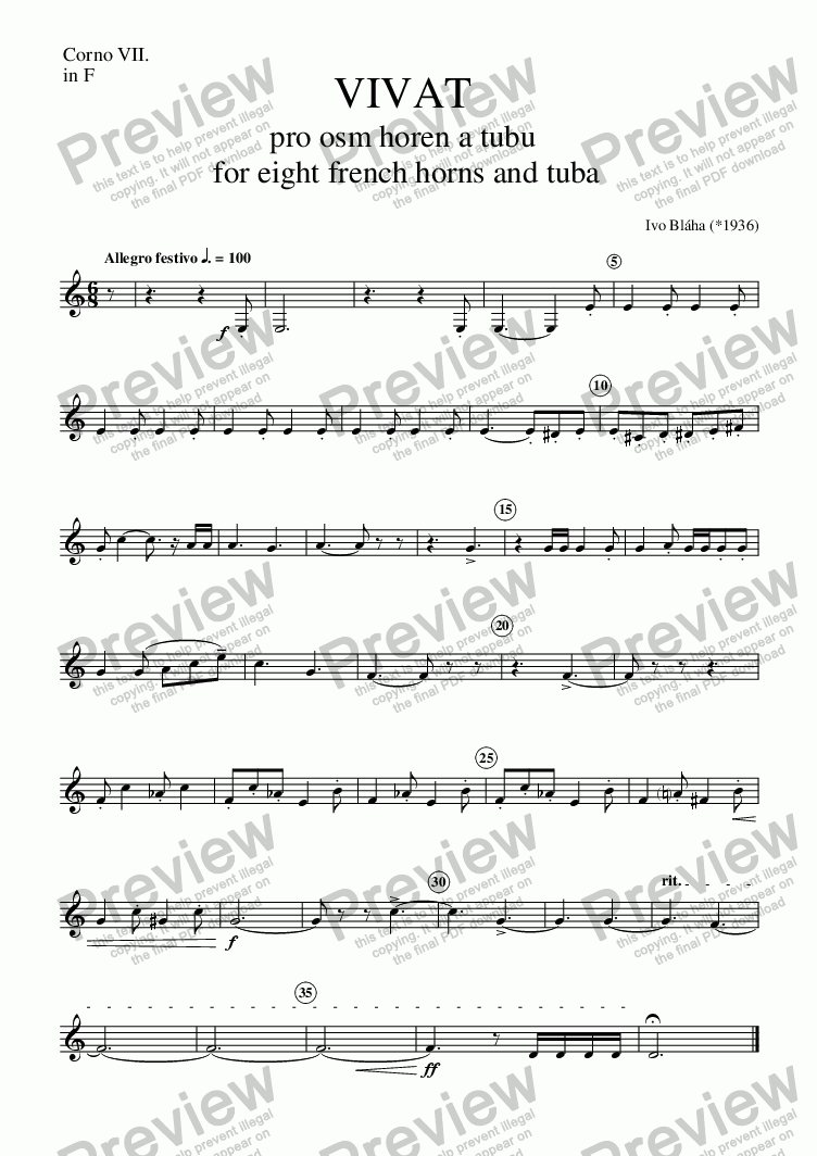 page one of the Corno 7 part from VIVAT for 8 French horns and tuba