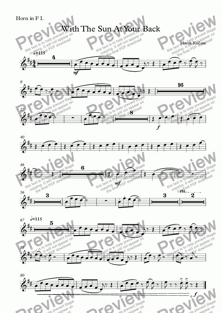 page one of the Horn in F I. part from With The Sun At Your Back