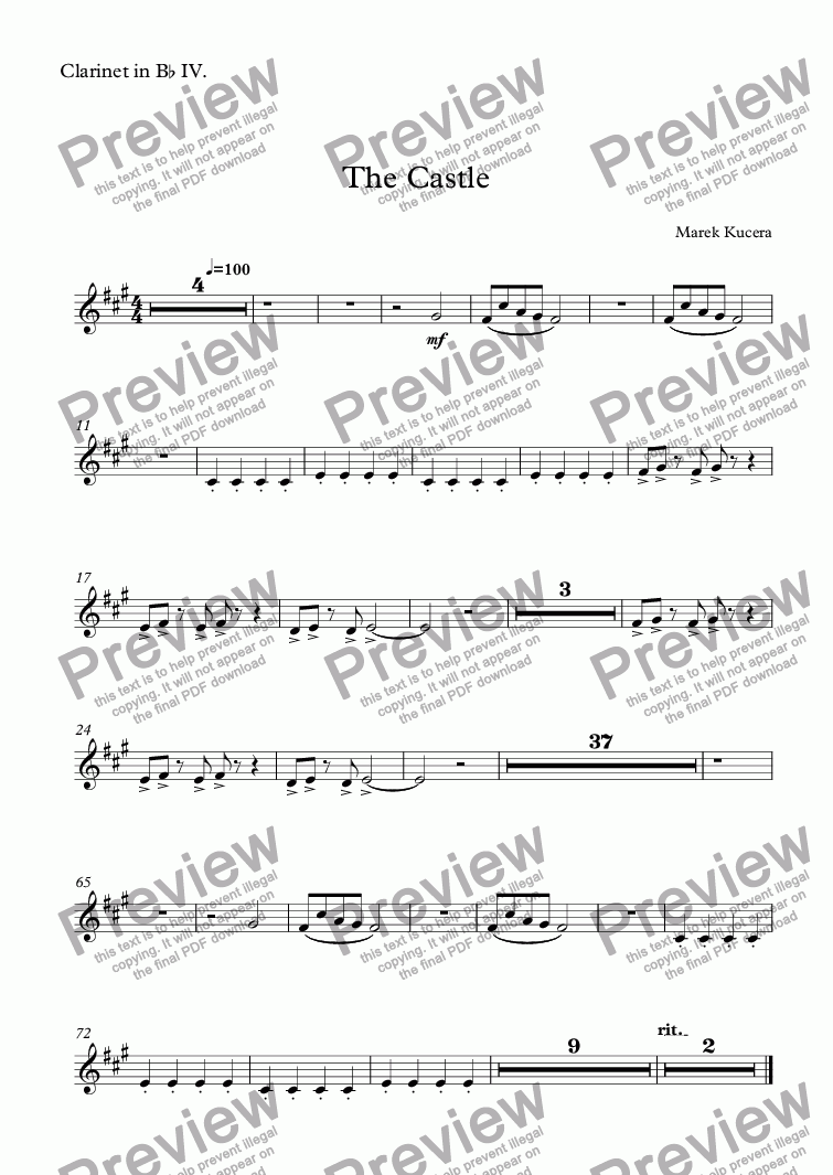 page one of the Clarinet in Bb IV. part from The Castle