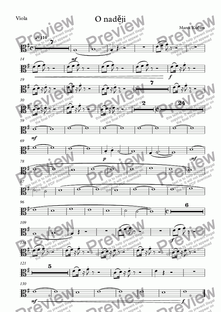 page one of the Viola part from O naději