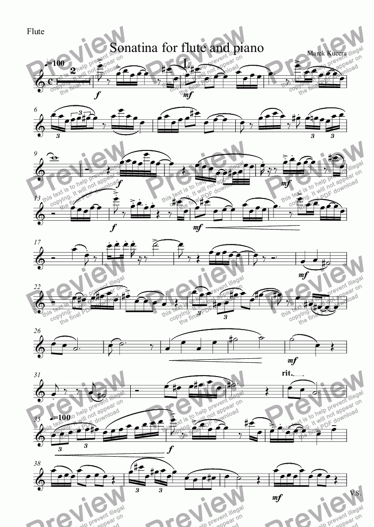 page one of the Flute part from Sonatina for flute and piano
