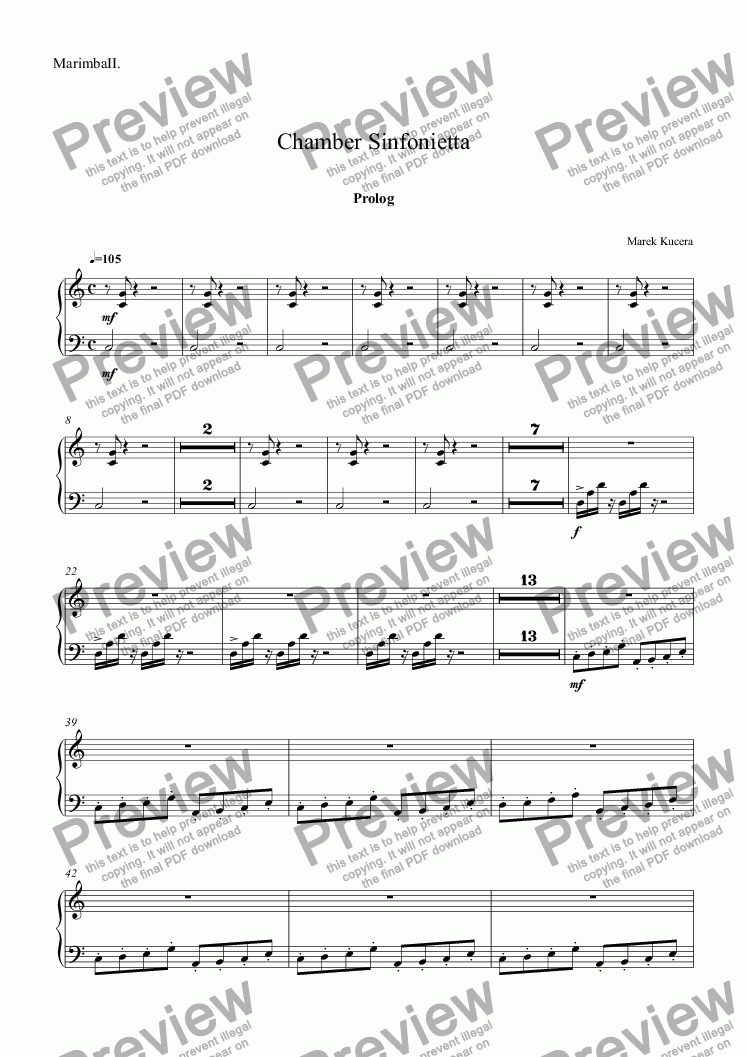 page one of the Marimba part from Chamber Sinfonietta