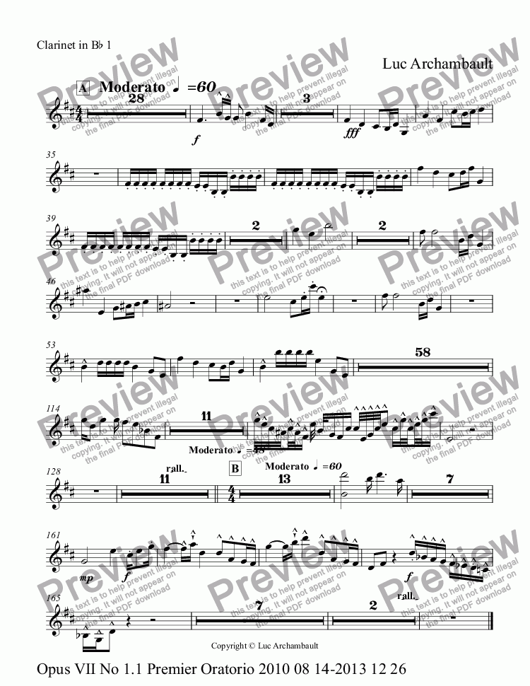 page one of the Clarinet in B^b 1 part from Opus VII No 1.1 Premier Oratorio 2010 08 14-2014 01 05