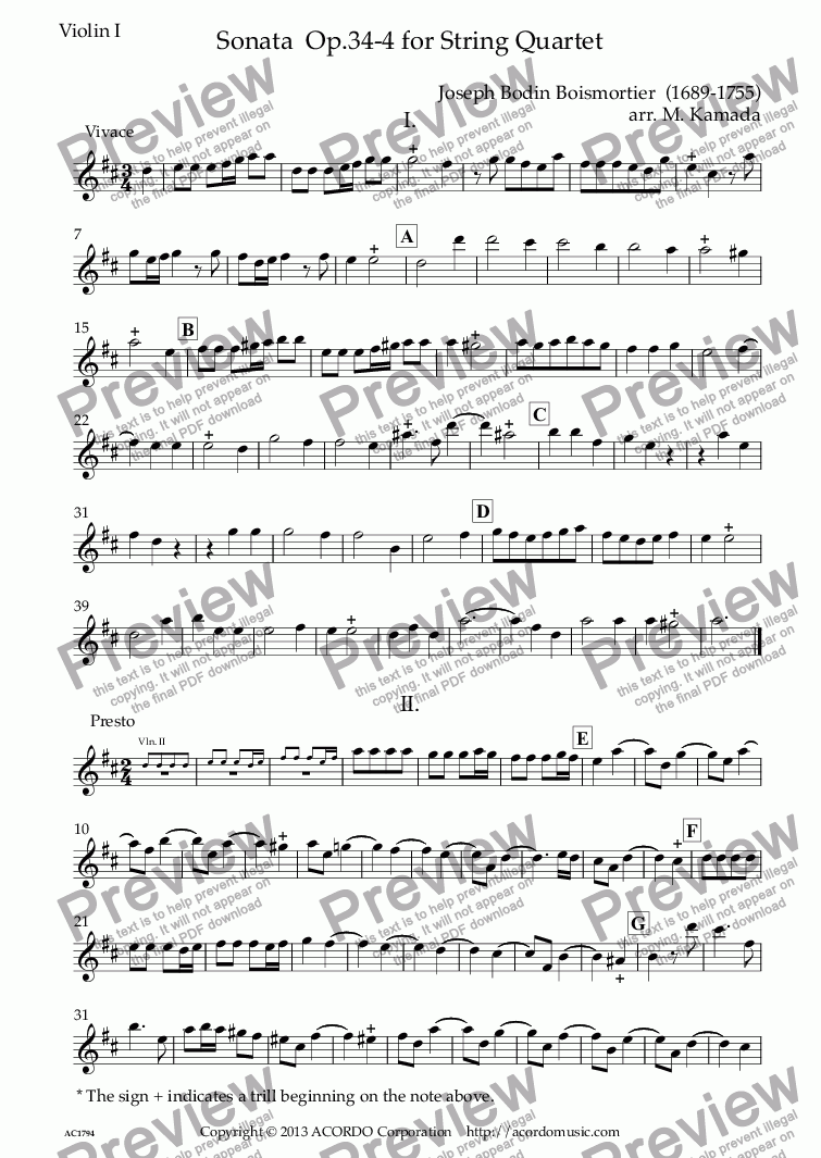 page one of the Violin I part from Sonata  Op.34-4 for String Quartet