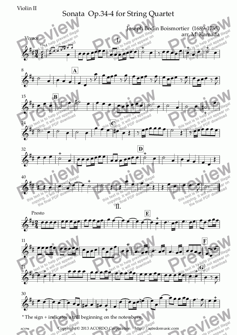 page one of the Violin II part from Sonata  Op.34-4 for String Quartet
