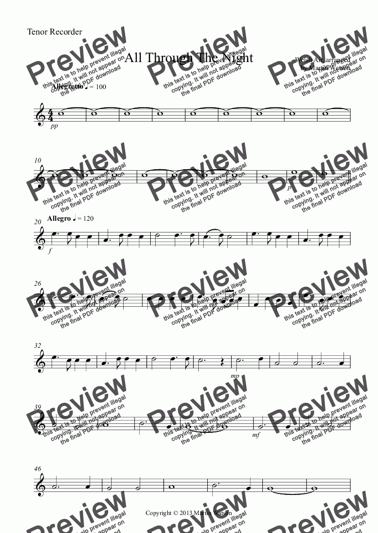 page one of the Tenor Recorder part from All Through The Night for Recorder Ensemble