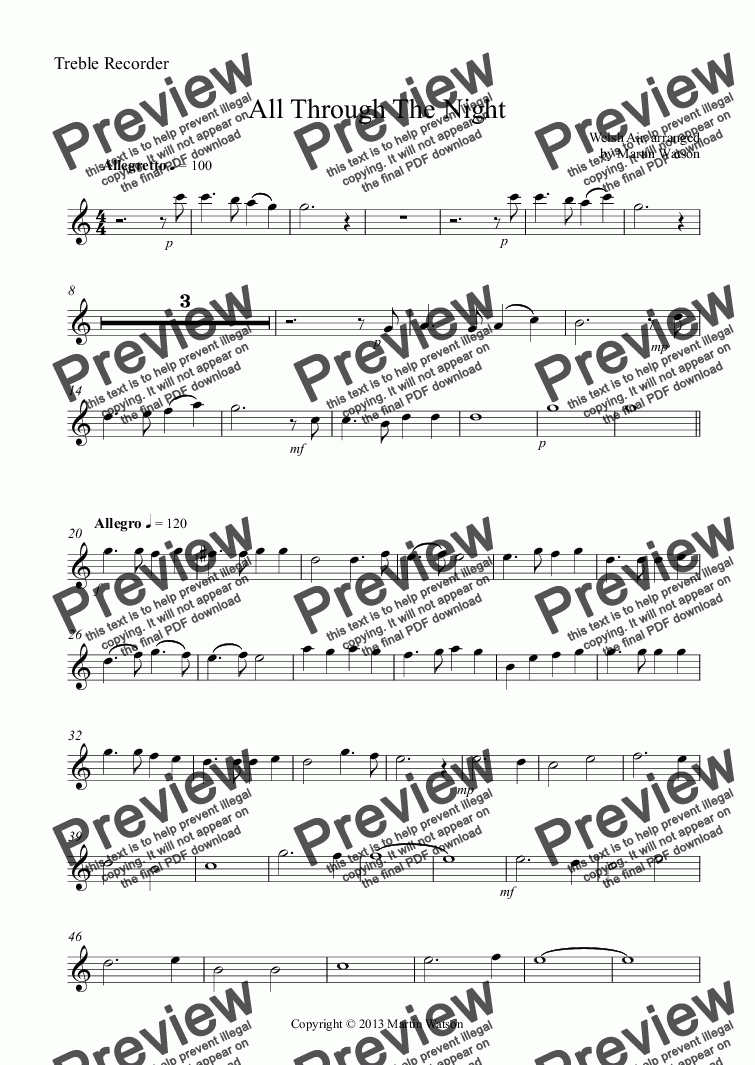 page one of the Treble Recorder part from All Through The Night for Recorder Ensemble