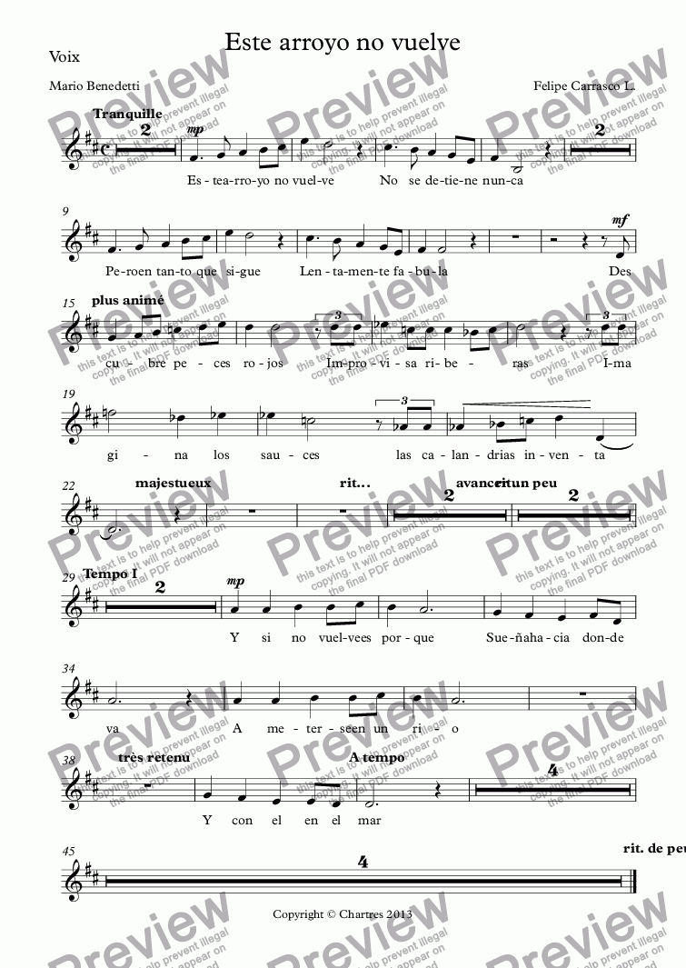 page one of the Voix part from Este arroyo no vuelve