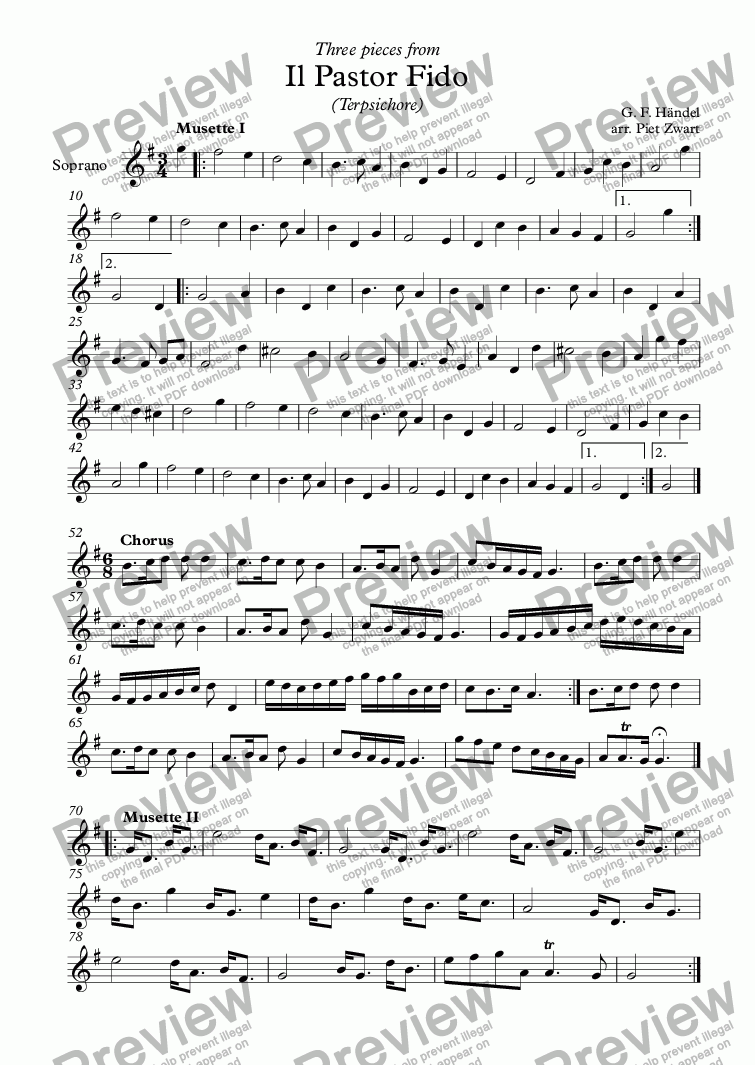 page one of the Soprano part from Il pastor fido 3 pieces (Händel)