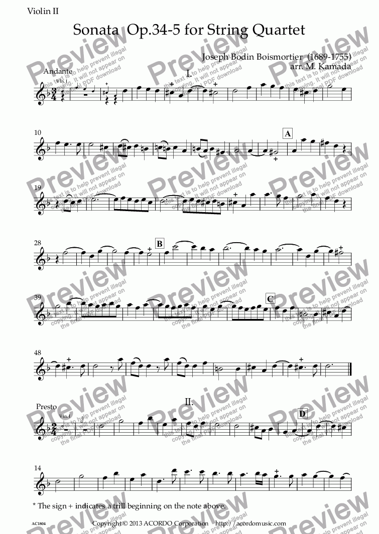 page one of the Violin II part from Sonata  Op.34-5 for String Quartet