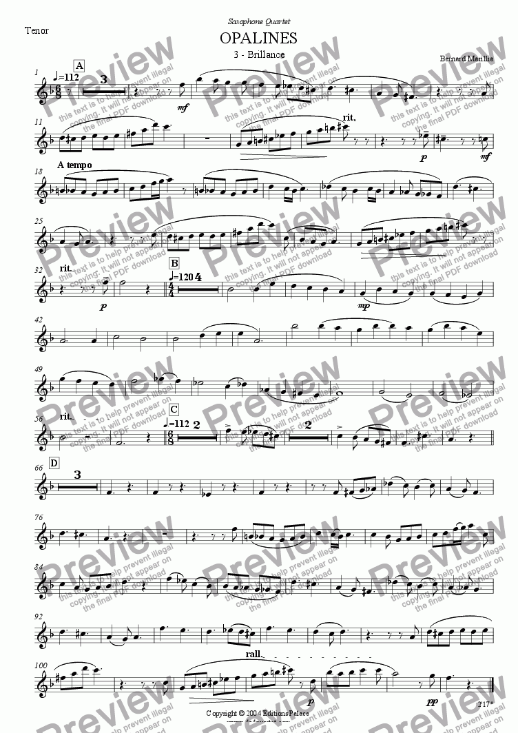 page one of the Tenor Sax part from Opalines - 3e mvt - Brillance (Sax Quartet)
