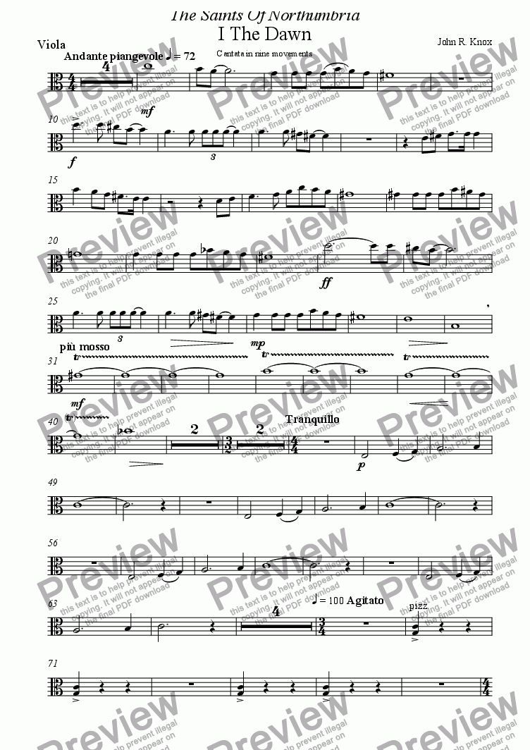 page one of the Viola part from The Saints Of Northumbria (I The Dawn)