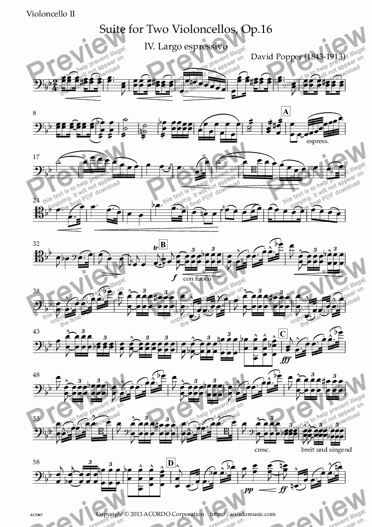 page one of the Violoncello II part from 'Largo espressivo' from Suite Op.16  for Two Violoncellos