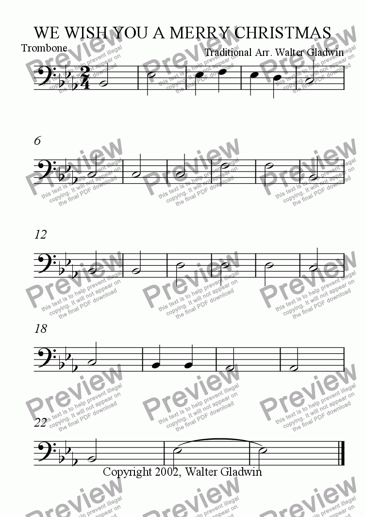 page one of the Trombone part from We Wish You A Merry Christmas