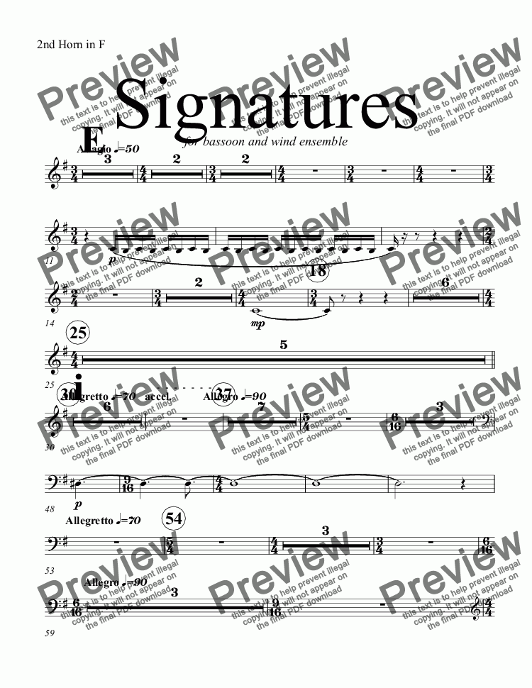 page one of the 2nd Horn in F part from Signatures  (bassoon concerto)
