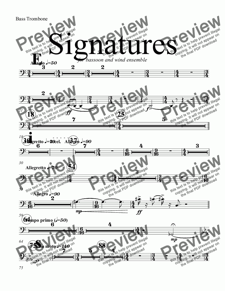 page one of the Bass Trombone part from Signatures  (bassoon concerto)