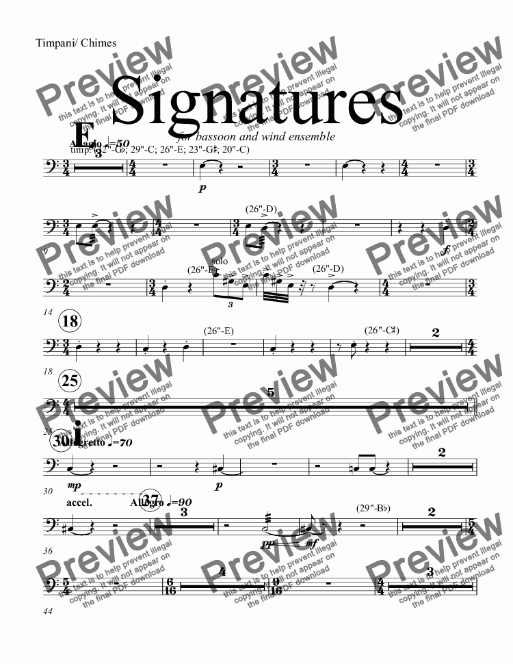 page one of the Timpani/ Chimes part from Signatures  (bassoon concerto)