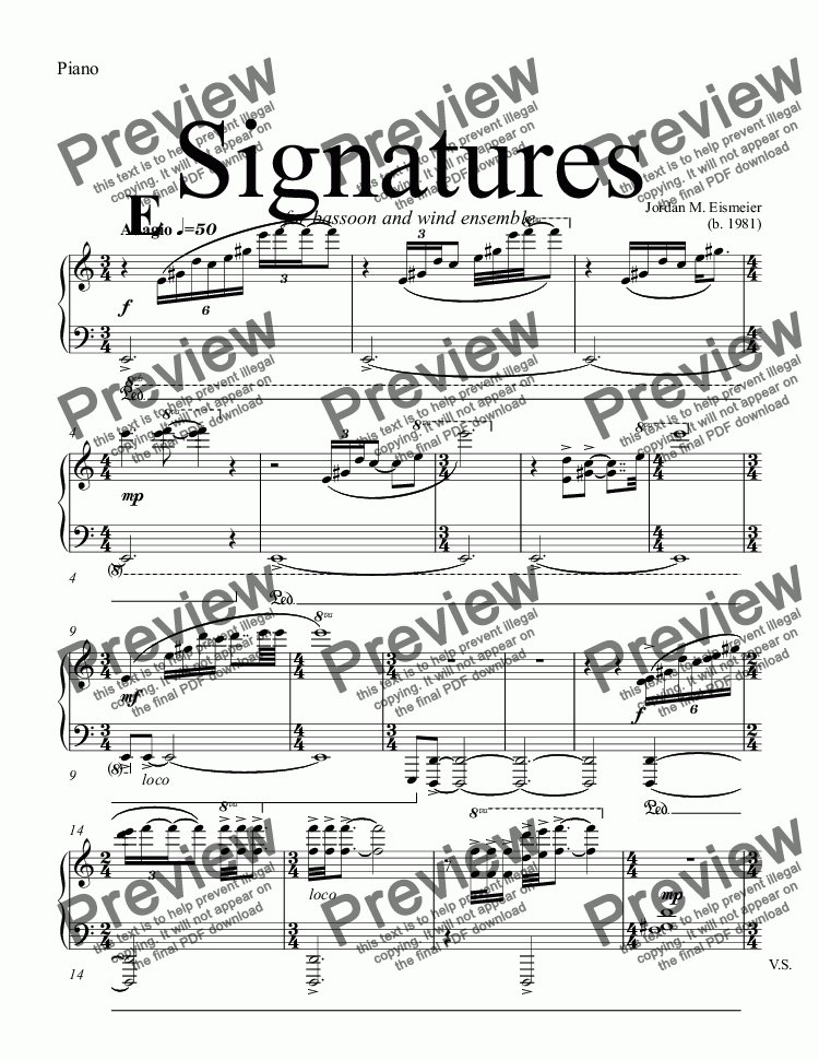 page one of the Piano part from Signatures  (bassoon concerto)