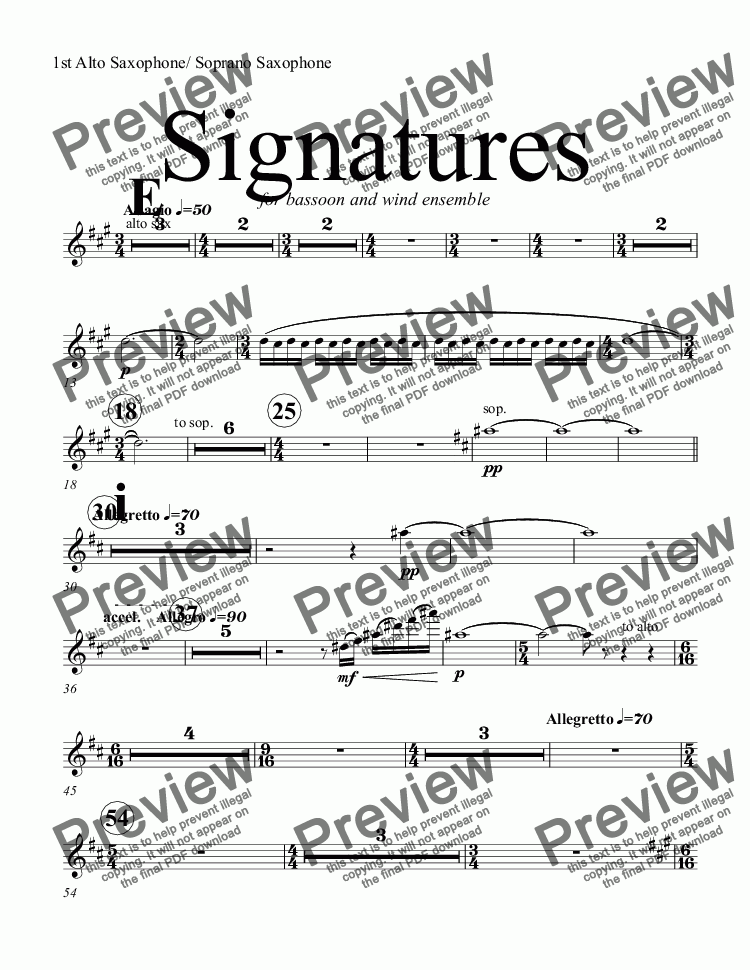 page one of the 1st Alto Saxophone/ Soprano Saxophone part from Signatures  (bassoon concerto)